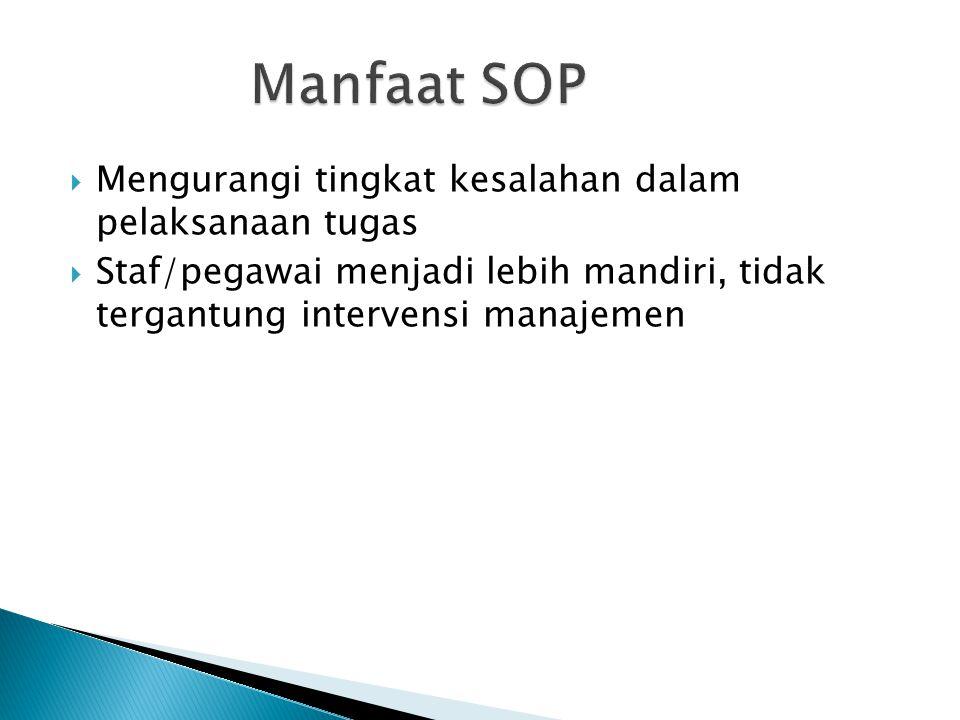 Manfaat SOP Mengurangi tingkat kesalahan dalam pelaksanaan tugas