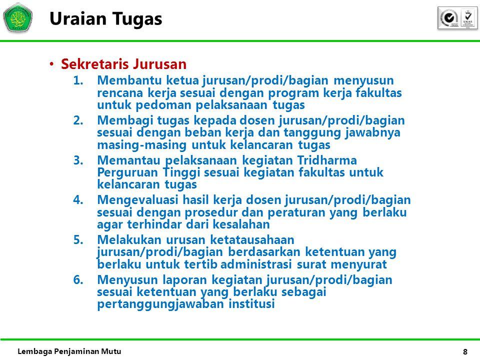 Uraian Tugas Sekretaris Jurusan