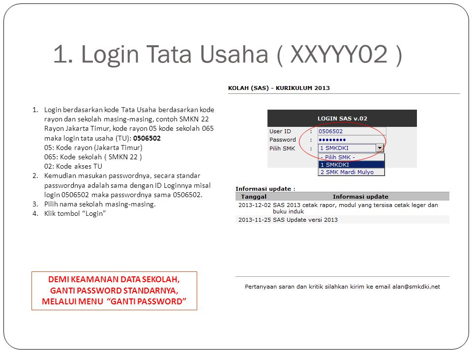 1. Login Tata Usaha ( XXYYY02 )