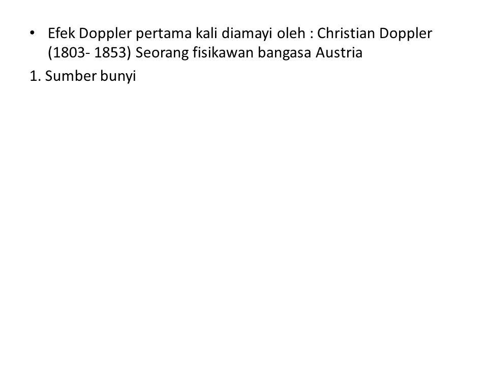Efek Doppler pertama kali diamayi oleh : Christian Doppler (1803- 1853) Seorang fisikawan bangasa Austria