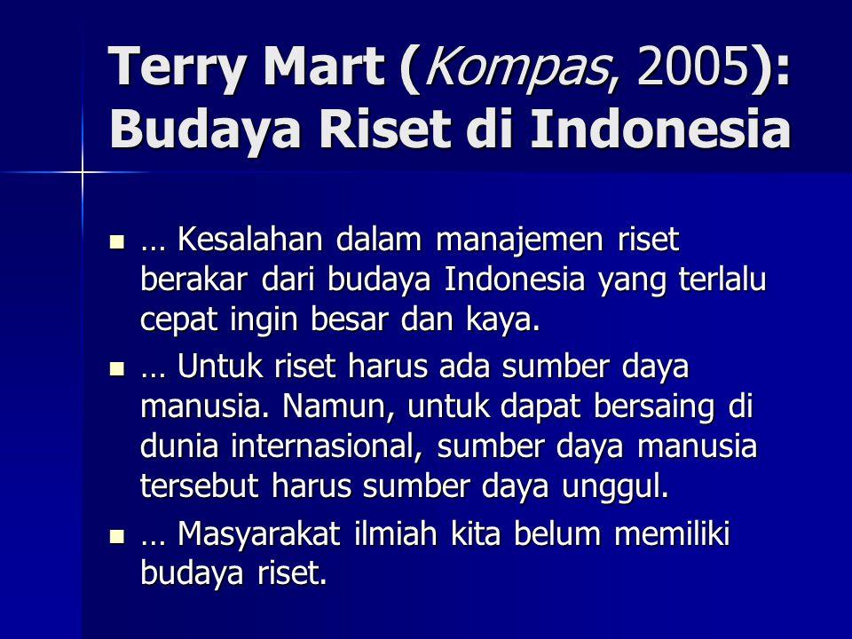 Terry Mart (Kompas, 2005): Budaya Riset di Indonesia