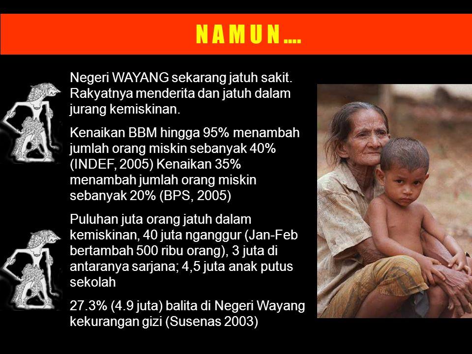 N A M U N …. Negeri WAYANG sekarang jatuh sakit. Rakyatnya menderita dan jatuh dalam jurang kemiskinan.