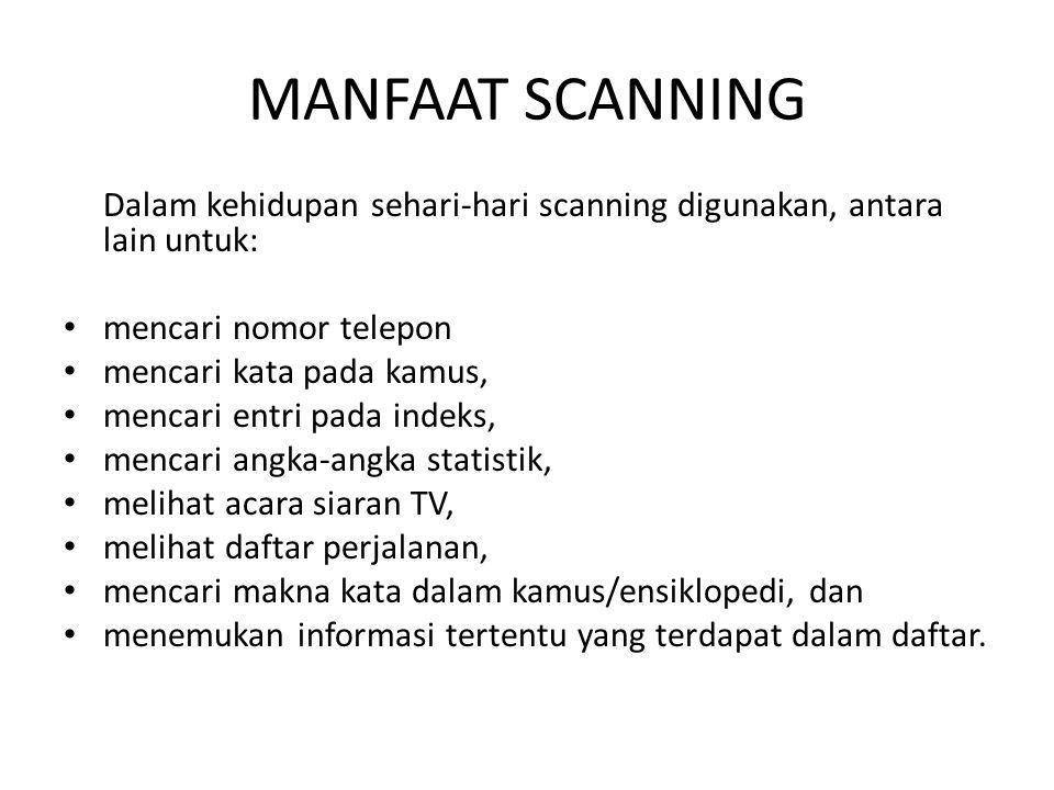 MANFAAT SCANNING Dalam kehidupan sehari-hari scanning digunakan, antara lain untuk: mencari nomor telepon.