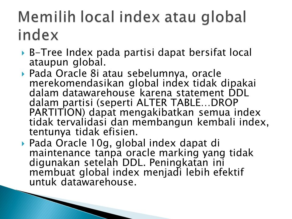 Memilih local index atau global index