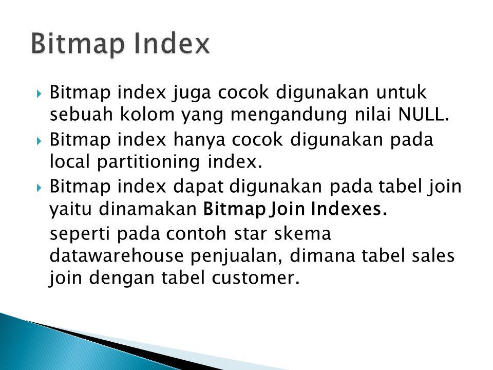 Bitmap Index Bitmap index juga cocok digunakan untuk sebuah kolom yang mengandung nilai NULL.