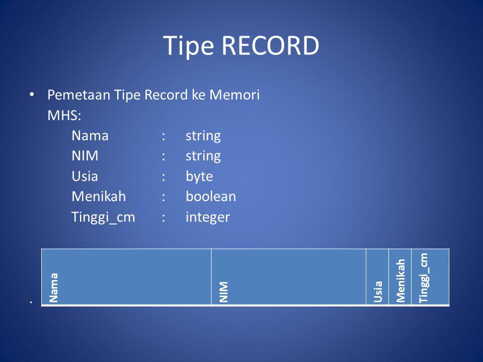 Tipe RECORD Pemetaan Tipe Record ke Memori MHS: Nama : string