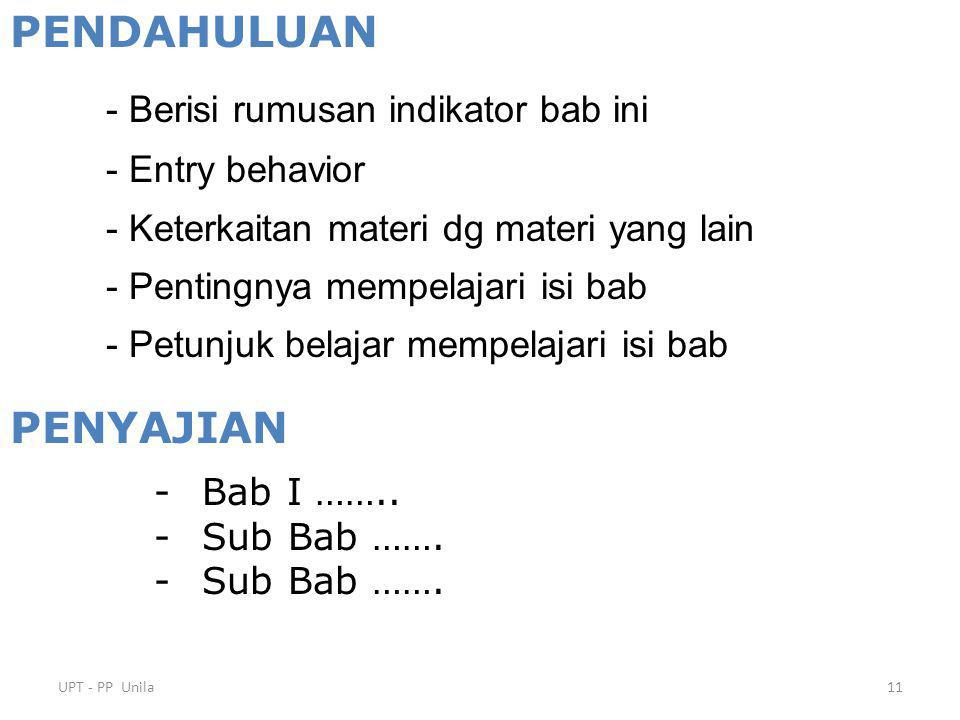 PENDAHULUAN PENYAJIAN - Entry behavior