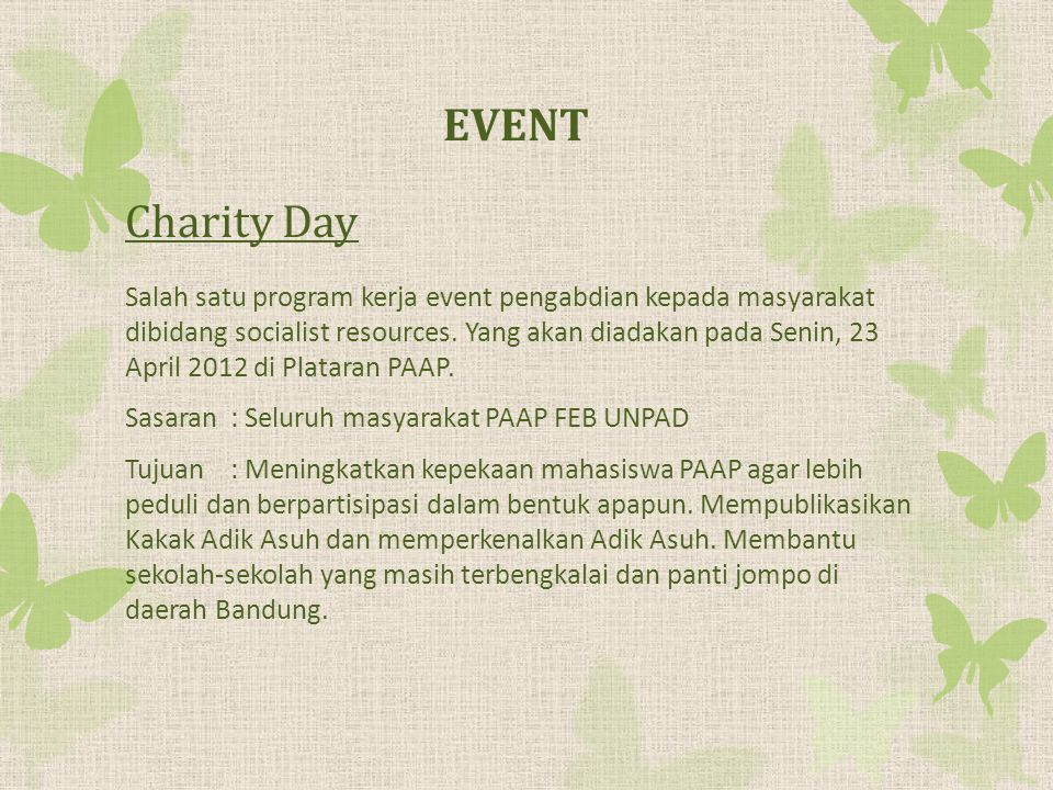 EVENT Charity Day.