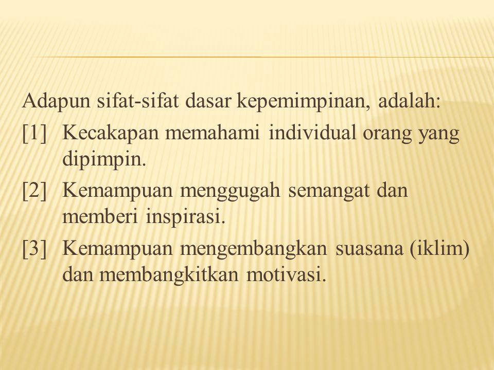 Adapun sifat-sifat dasar kepemimpinan, adalah: