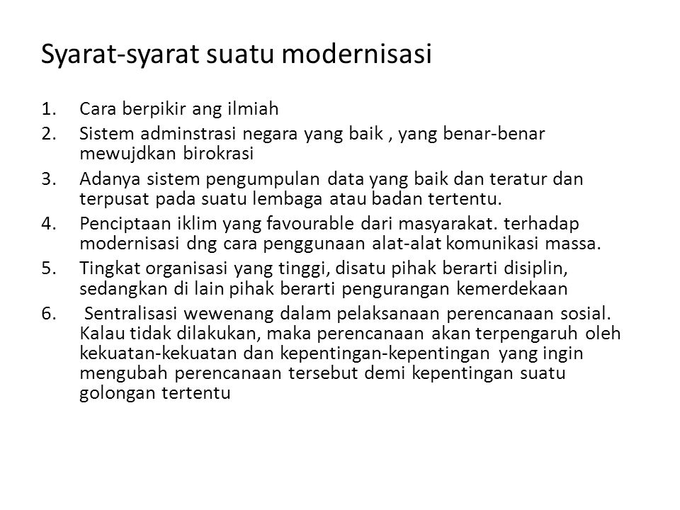 Syarat-syarat suatu modernisasi