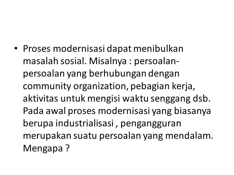 Proses modernisasi dapat menibulkan masalah sosial
