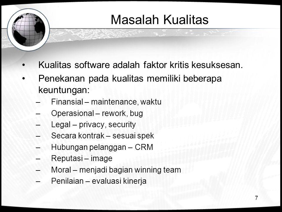 Masalah Kualitas Kualitas software adalah faktor kritis kesuksesan.
