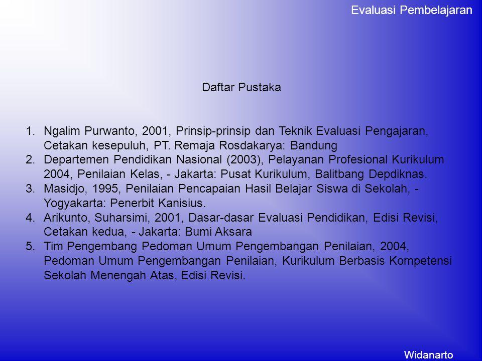 Daftar Pustaka Ngalim Purwanto, 2001, Prinsip-prinsip dan Teknik Evaluasi Pengajaran, Cetakan kesepuluh, PT. Remaja Rosdakarya: Bandung.