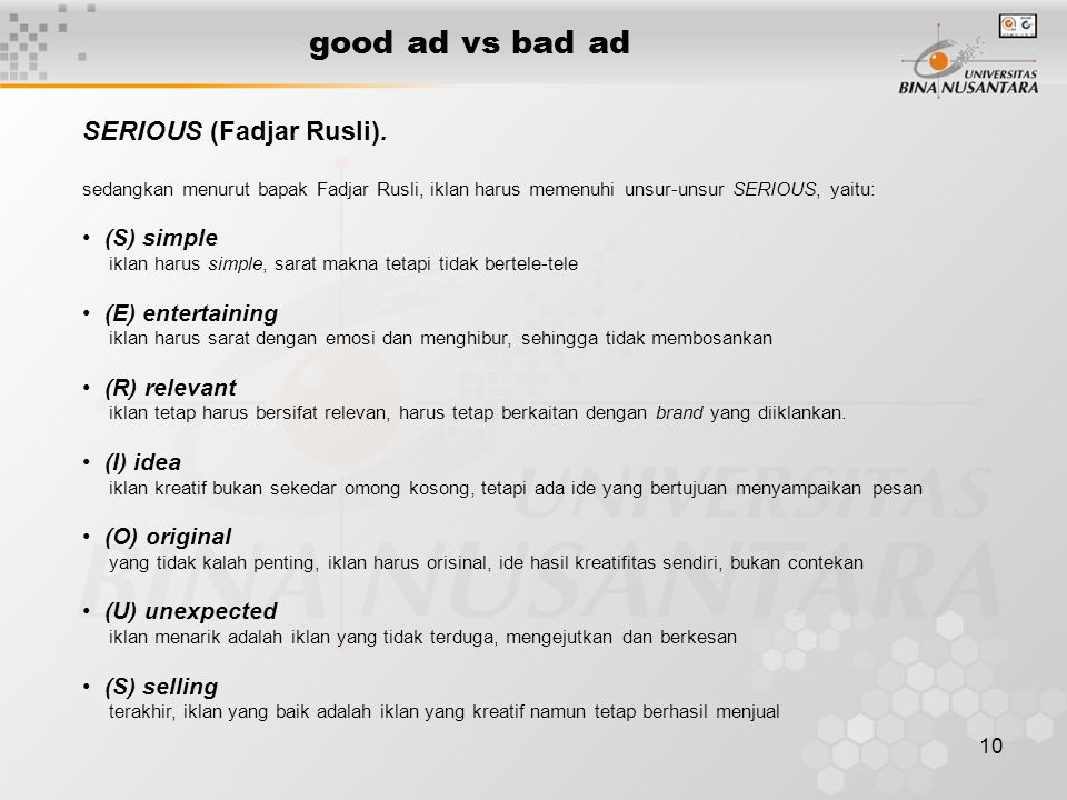 good ad vs bad ad SERIOUS (Fadjar Rusli). (S) simple (E) entertaining