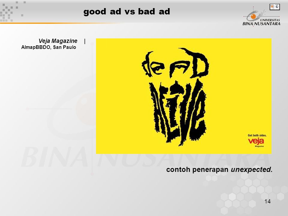 good ad vs bad ad contoh penerapan unexpected. Veja Magazine |