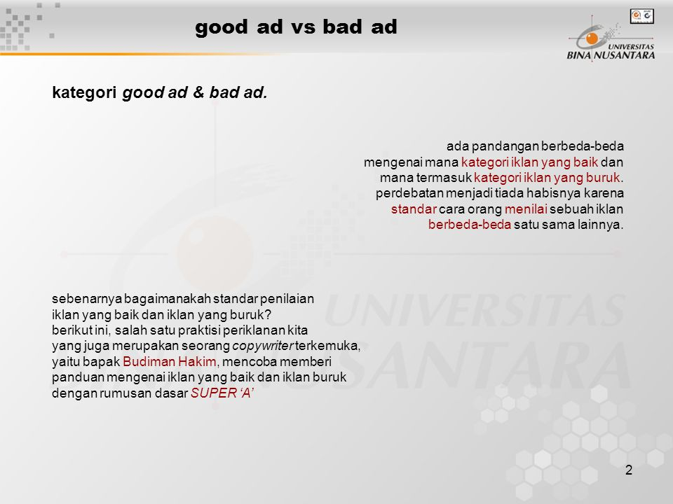 good ad vs bad ad kategori good ad & bad ad.