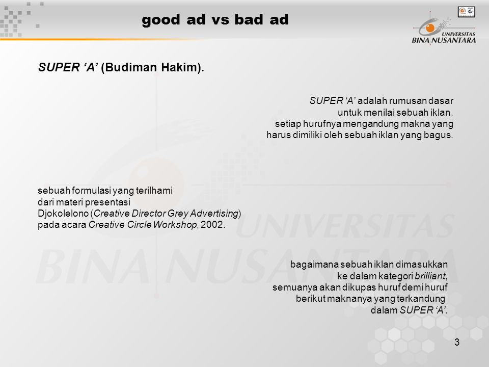 good ad vs bad ad SUPER 'A' (Budiman Hakim).
