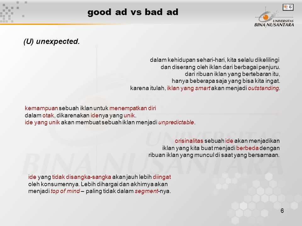 good ad vs bad ad (U) unexpected.