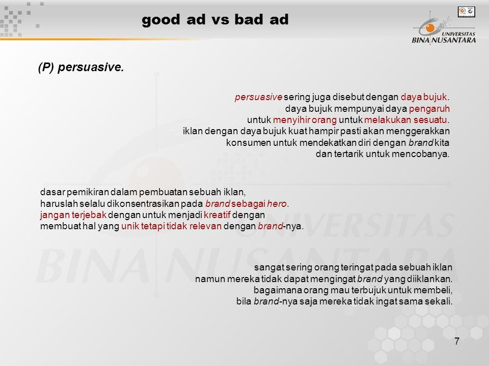 good ad vs bad ad (P) persuasive.