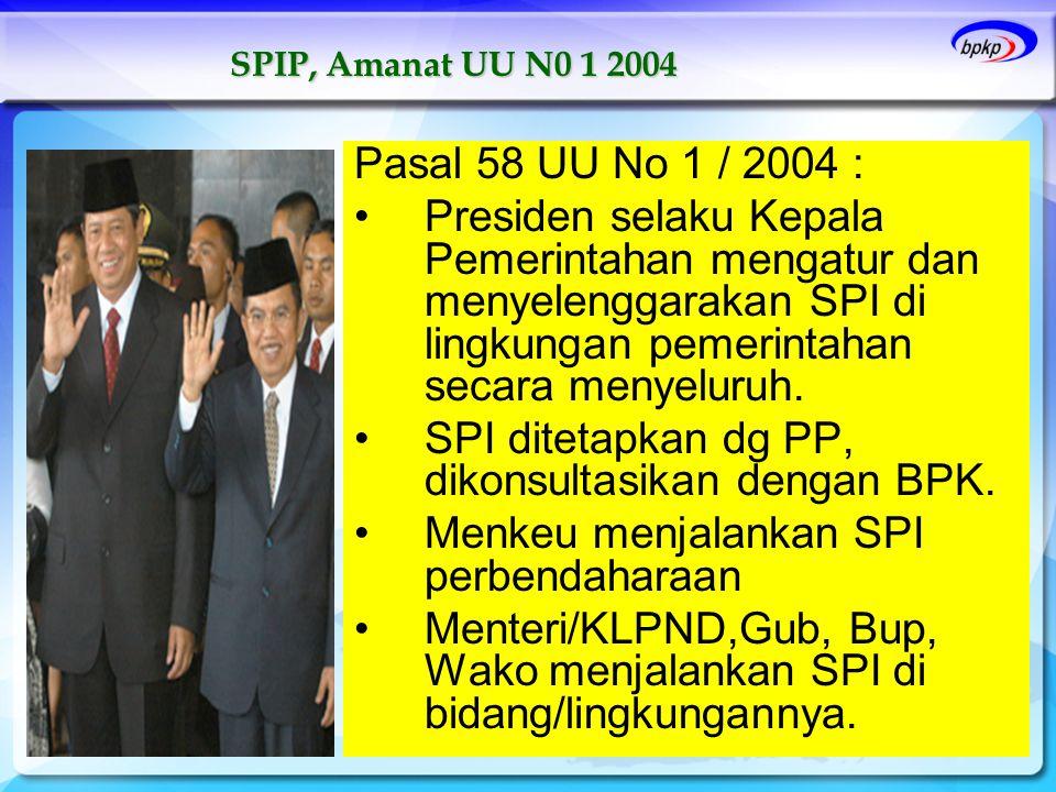 SPI ditetapkan dg PP, dikonsultasikan dengan BPK.
