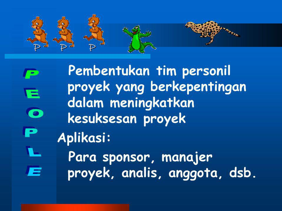 P P P Pembentukan tim personil proyek yang berkepentingan dalam meningkatkan kesuksesan proyek.