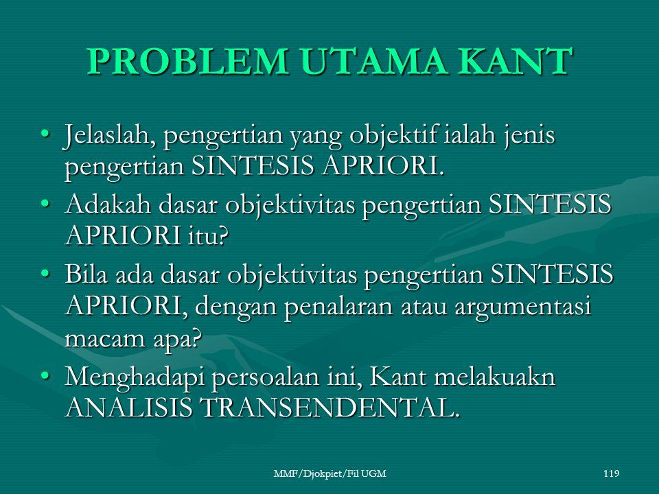 PROBLEM UTAMA KANT Jelaslah, pengertian yang objektif ialah jenis pengertian SINTESIS APRIORI.