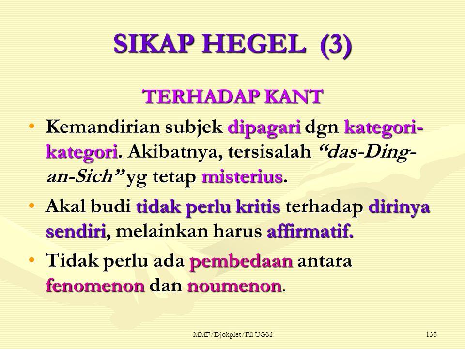 SIKAP HEGEL (3) TERHADAP KANT