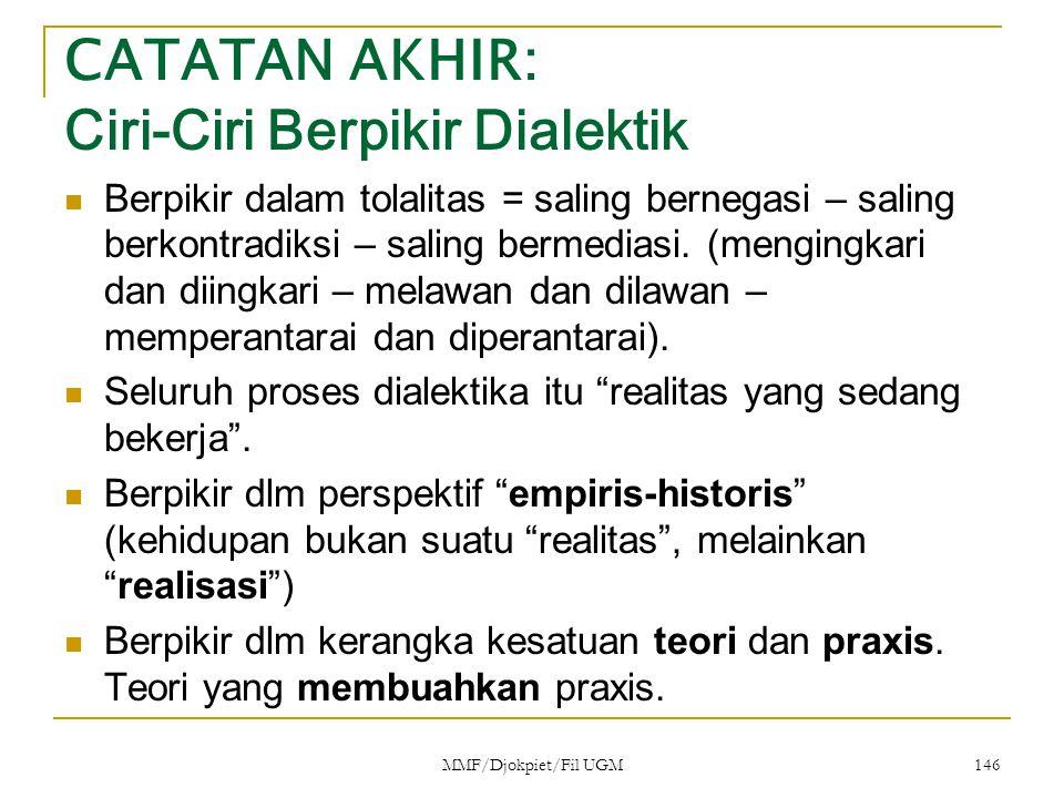 CATATAN AKHIR: Ciri-Ciri Berpikir Dialektik