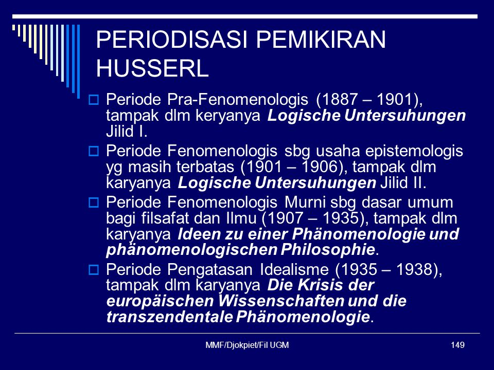 PERIODISASI PEMIKIRAN HUSSERL