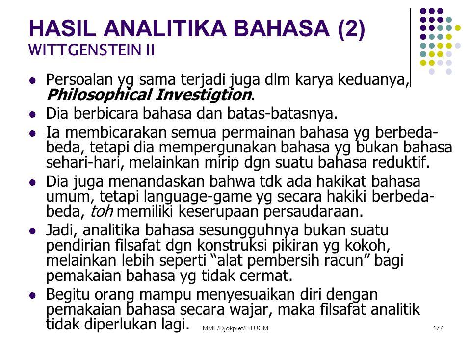 HASIL ANALITIKA BAHASA (2) WITTGENSTEIN II