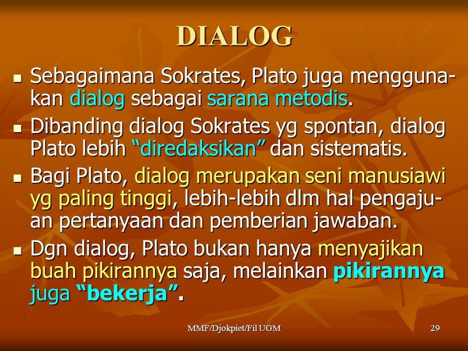 DIALOG Sebagaimana Sokrates, Plato juga mengguna-kan dialog sebagai sarana metodis.