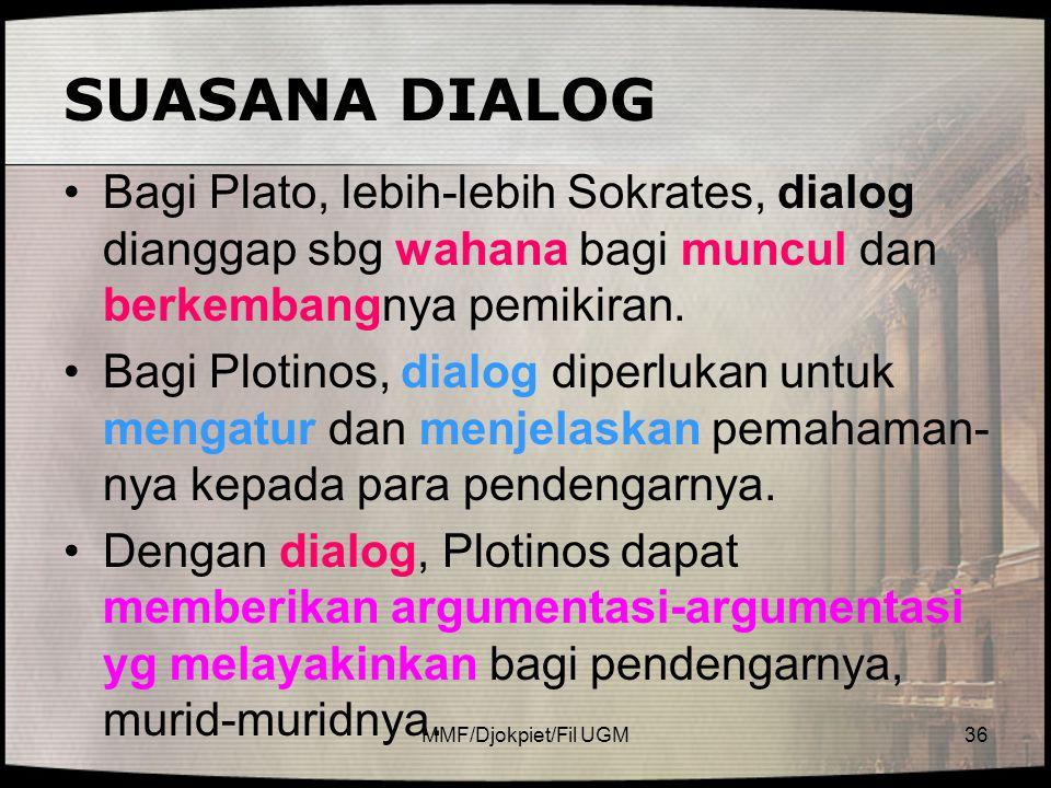 SUASANA DIALOG Bagi Plato, lebih-lebih Sokrates, dialog dianggap sbg wahana bagi muncul dan berkembangnya pemikiran.