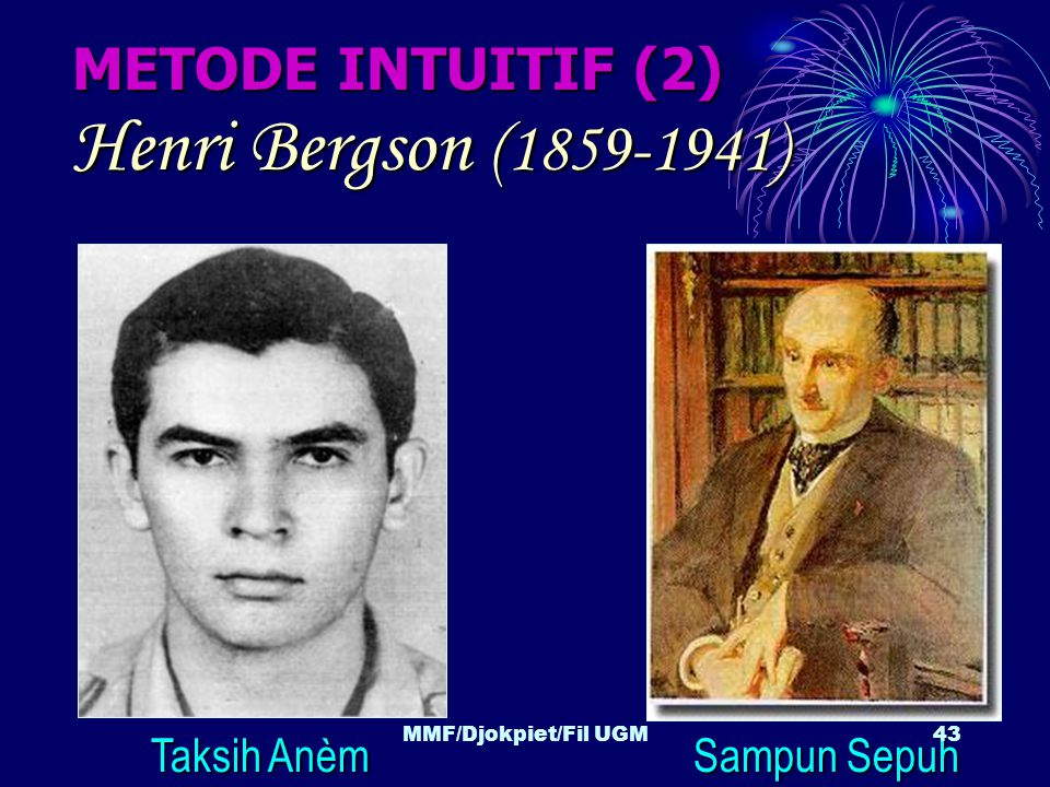 Henri Bergson (1859-1941) METODE INTUITIF (2) Taksih Anèm Sampun Sepuh