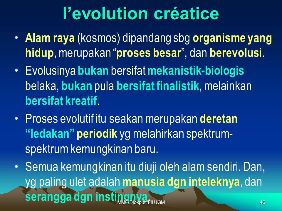 l'evolution créatice Alam raya (kosmos) dipandang sbg organisme yang hidup, merupakan proses besar , dan berevolusi.