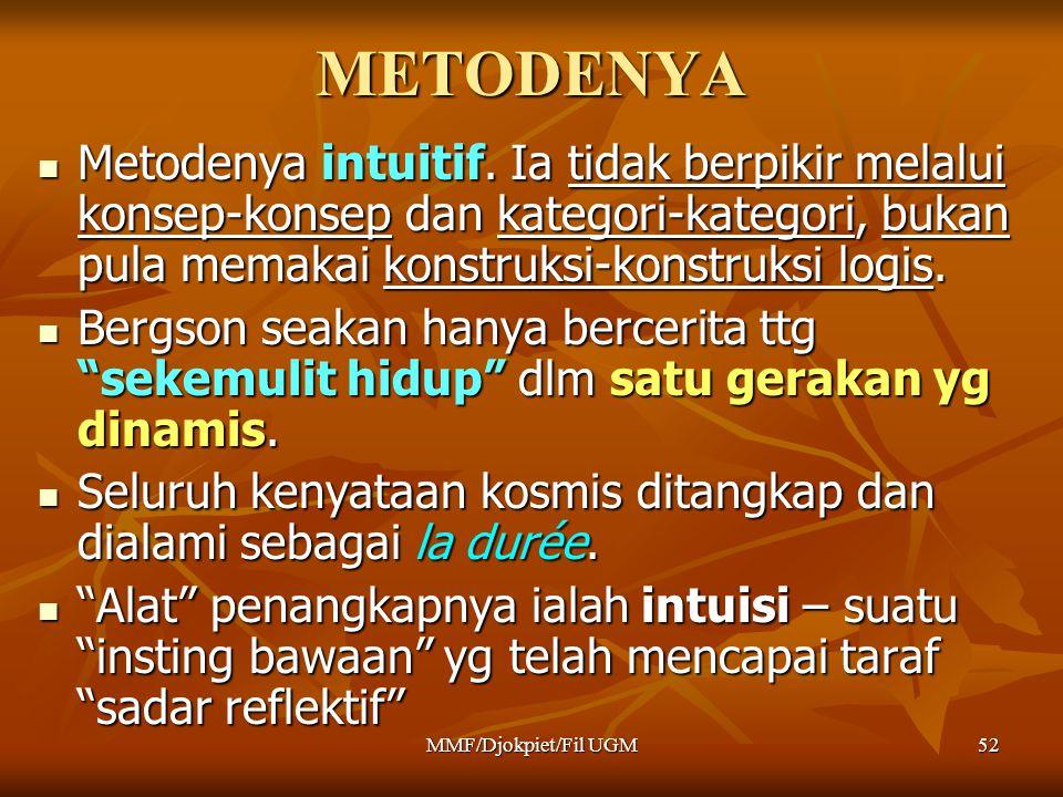 METODENYA Metodenya intuitif. Ia tidak berpikir melalui konsep-konsep dan kategori-kategori, bukan pula memakai konstruksi-konstruksi logis.