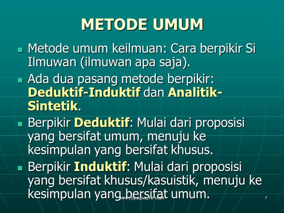 METODE UMUM Metode umum keilmuan: Cara berpikir Si Ilmuwan (ilmuwan apa saja).
