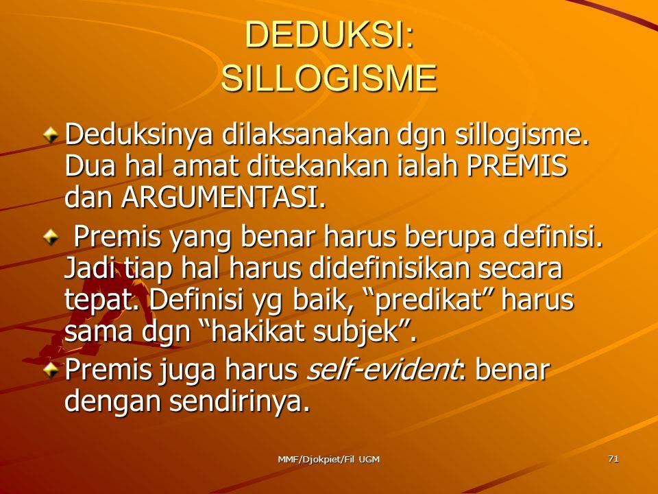 DEDUKSI: SILLOGISME Deduksinya dilaksanakan dgn sillogisme. Dua hal amat ditekankan ialah PREMIS dan ARGUMENTASI.