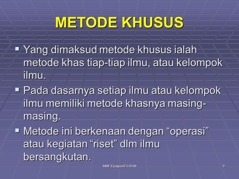 METODE KHUSUS Yang dimaksud metode khusus ialah metode khas tiap-tiap ilmu, atau kelompok ilmu.