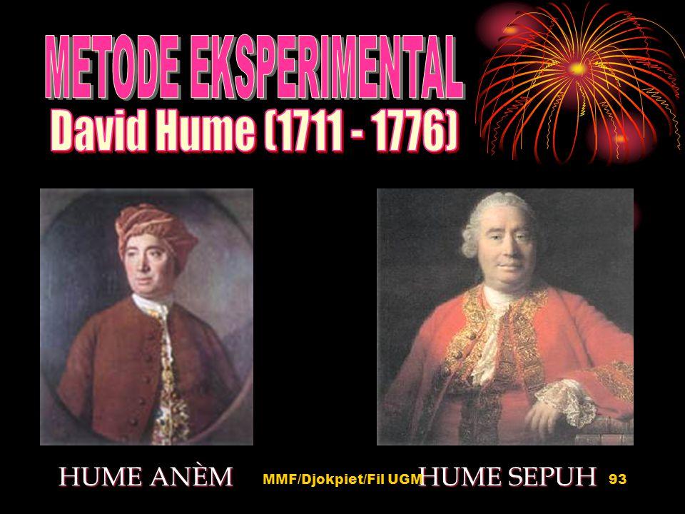 David Hume (1711 - 1776) HUME ANÈM HUME SEPUH METODE EKSPERIMENTAL