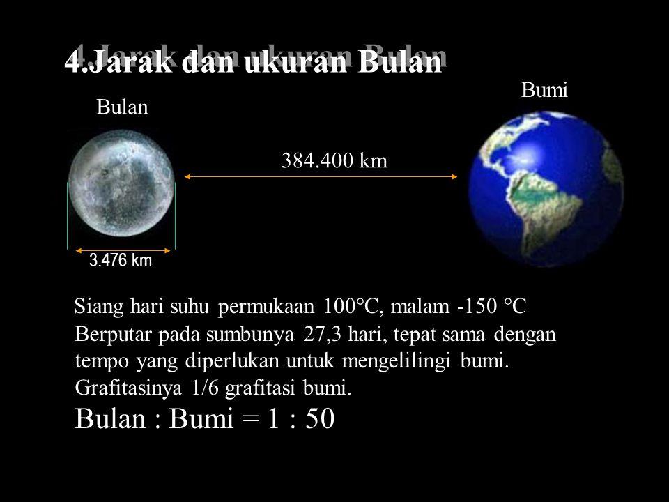 4.Jarak dan ukuran Bulan Bulan : Bumi = 1 : 50 Bumi Bulan 384.400 km