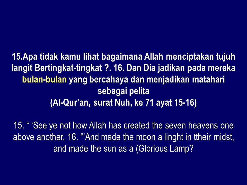 (Al-Qur'an, surat Nuh, ke 71 ayat 15-16)