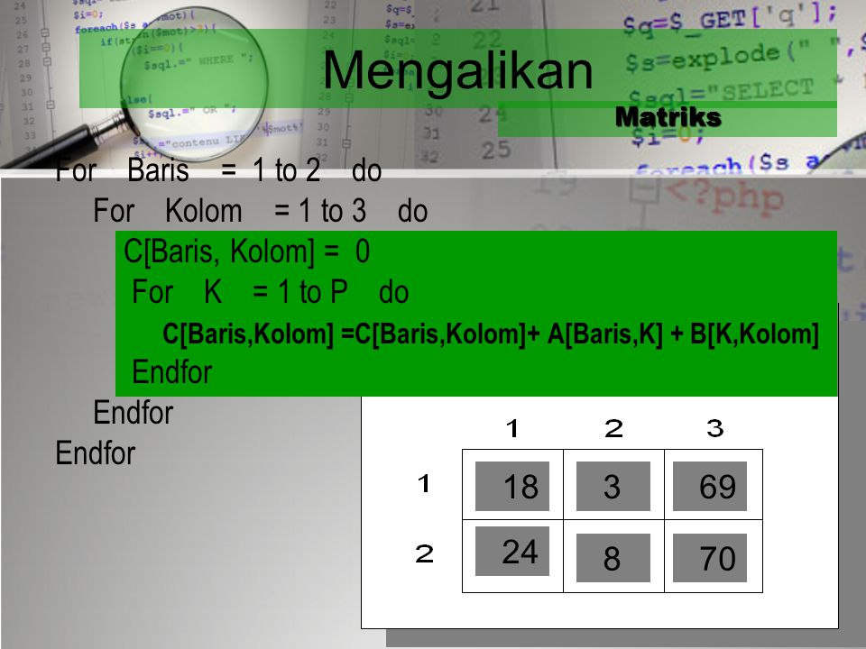 Mengalikan For Baris = 1 to 2 do For Kolom = 1 to 3 do