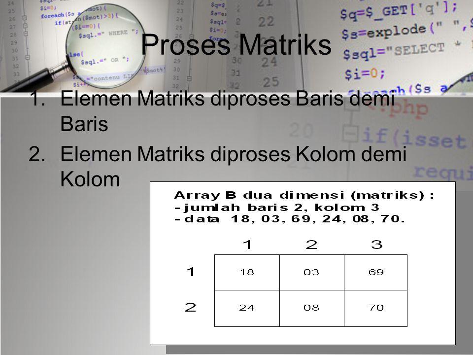 Proses Matriks Elemen Matriks diproses Baris demi Baris