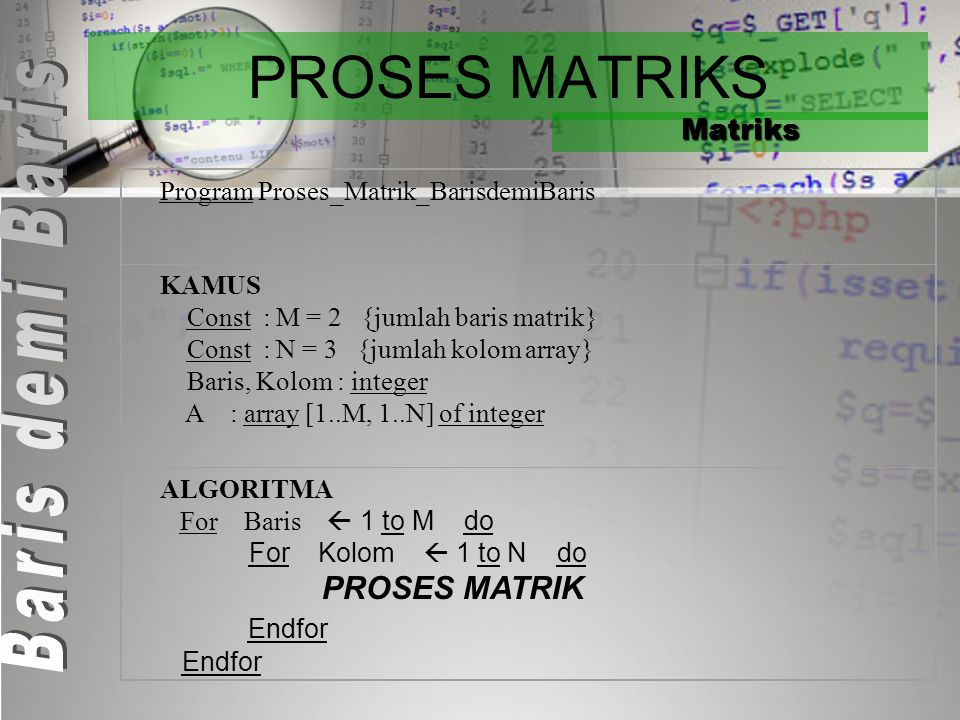 PROSES MATRIKS Endfor Matriks Program Proses_Matrik_BarisdemiBaris