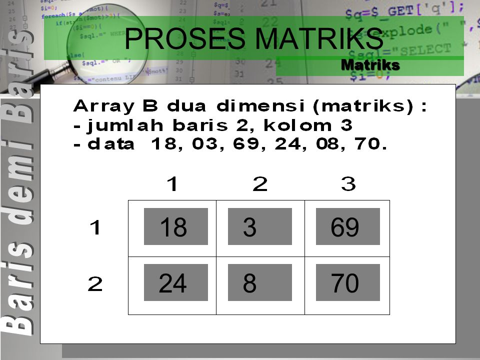 PROSES MATRIKS Matriks Baris demi Baris 18 3 69 24 8 70