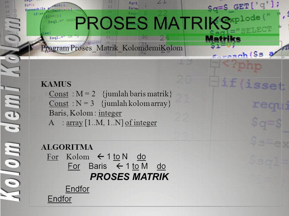 PROSES MATRIKS Matriks Program Proses_Matrik_KolomdemiKolom KAMUS