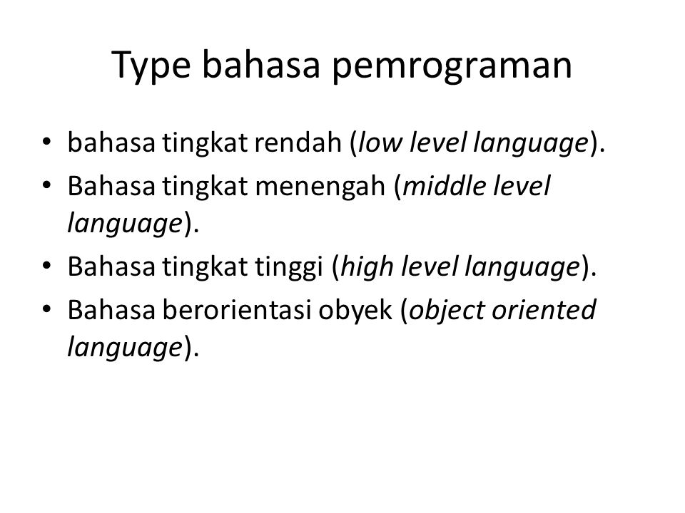 Type bahasa pemrograman