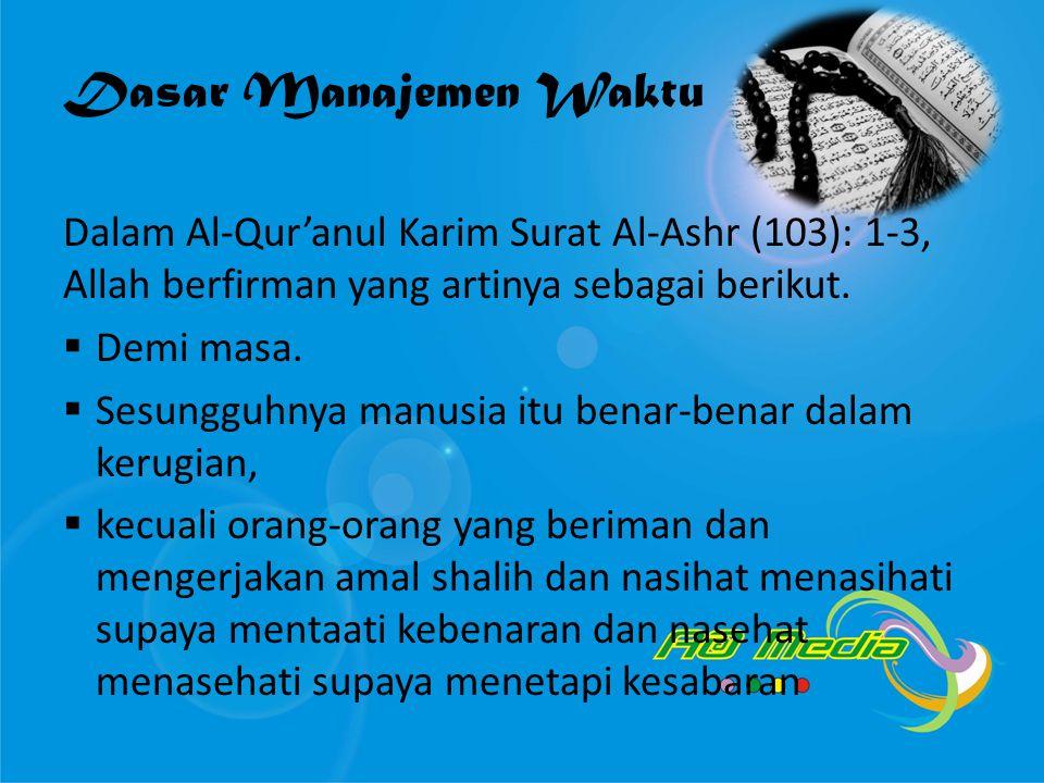 Dasar Manajemen Waktu Dalam Al-Qur'anul Karim Surat Al-Ashr (103): 1-3, Allah berfirman yang artinya sebagai berikut.