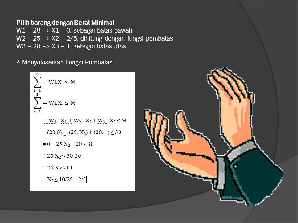 Pilih barang dengan Berat Minimal W1 = 28 –> X1 = 0, sebagai batas bawah.