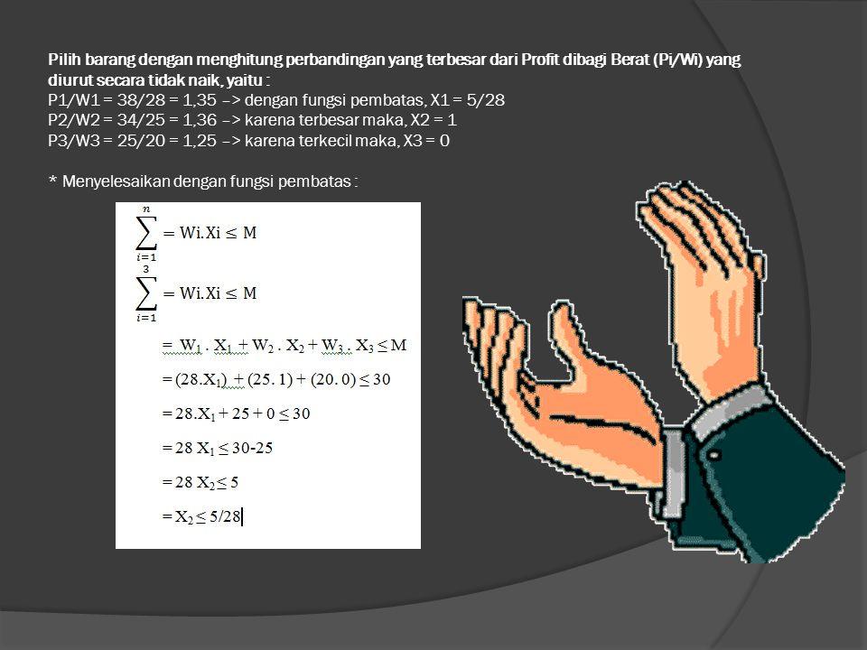 Pilih barang dengan menghitung perbandingan yang terbesar dari Profit dibagi Berat (Pi/Wi) yang diurut secara tidak naik, yaitu : P1/W1 = 38/28 = 1,35 –> dengan fungsi pembatas, X1 = 5/28 P2/W2 = 34/25 = 1,36 –> karena terbesar maka, X2 = 1 P3/W3 = 25/20 = 1,25 –> karena terkecil maka, X3 = 0 * Menyelesaikan dengan fungsi pembatas :